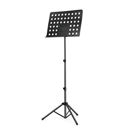 Emovendo ProfessionalMusic Stand for Music Sheet and Instrument Books,Laptop Stand Collapsible Metal Sheet Music Stand with Adjustable height, Heavy Duty and Stable, Black