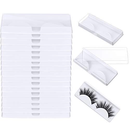 24 Pièces Boîte de Rangement pour Faux Cils Étui pour Faux Cils Boîte à Cils en Plastique pour Outils Cosmétiques pour le Stockage des Faux Cils (Blanc)
