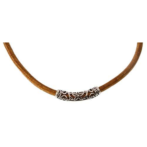 WAVEPIRATE® Echt Leder-Halskette XO R Cognac 42 cm Edelstahl-Parts in Geschenk-Box Surfer Herren Männer