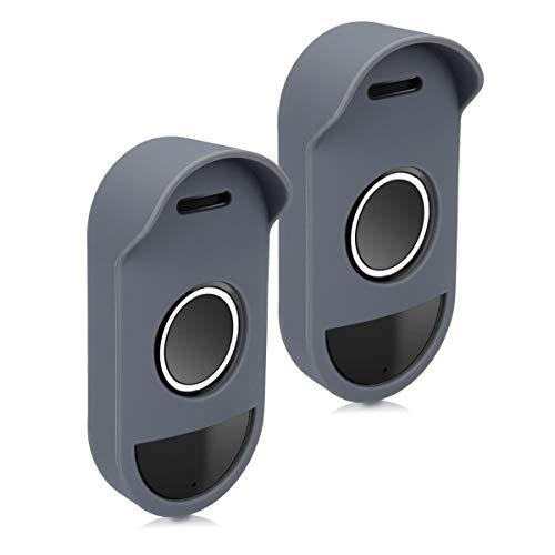 kwmobile 2X Fundas videoportero Compatible con Arlo Smart Audio Doorbell - Case Silicona para Arlo Smart Audio Doorbell - Gris
