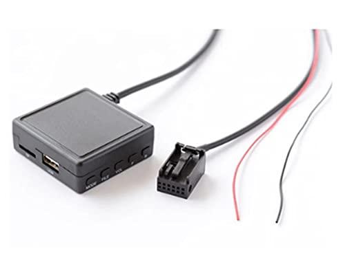 Jhong Store Apto para Ford 600 0CD Adaptador de música de Radio Bluetooth Parte 12Pin Coche AUX USB Cable de Audio