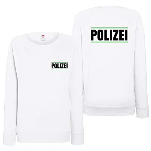 Shirt-Panda Damen Polizei Sweatshirt Druck mit Streifen Brust & Rücken Weiß (Druck Grün) L