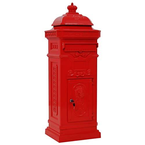 Pilaar brievenbus vintage stijl roestbestendig aluminium rood