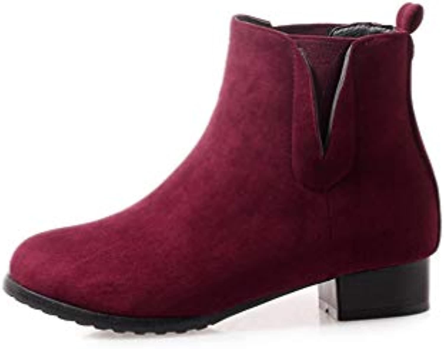 T-JULY Women Flock Top Qulity Autumn Winter Boots Fashion Round Toe Square Heels shoes Woman Big Size Ankle Boots