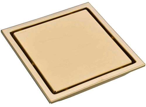 TRUSTMI 6 Inch Square Invisible Bathroom Shower Floor Drain with Removable Tile Insert Grate Cover, Brushed Gold, SUS 304 Stainless Steel