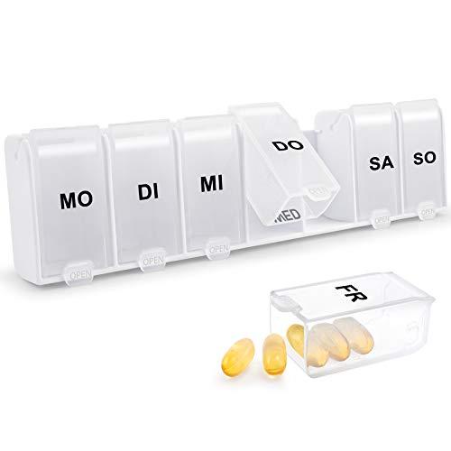 Tablettenbox 7 Tage, Pillendose 7 Fächer, Leicht Zu Öffnen Regenbogen - Weiß