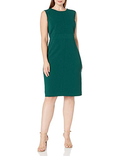NINE WEST Women's Plus Size Sleeveless Crepe Dress with Piping, Dark Emerald, 18W
