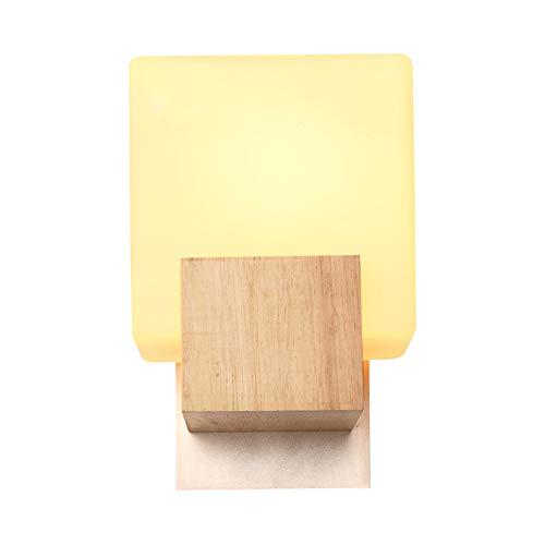 ZHCSYL Lámparas de pared Minimalista de vidrio/madera pequeña lámpara de mesa, lámpara de cabecera del dormitorio Lámpara de pared for habitaciones de niños Vida balcón Hotel E27 lámpara de pared