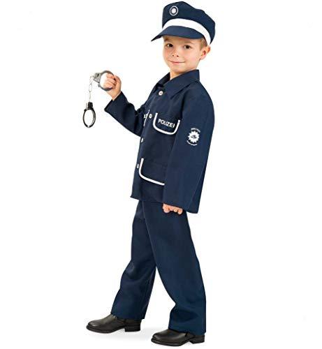 KarnevalsTeufel Kinderkostüm Polizist Petersen 2-TLG. mit Mütze Polizei-Uniform dunkelblau, Fasching, Karneval, Mottoparty (116)