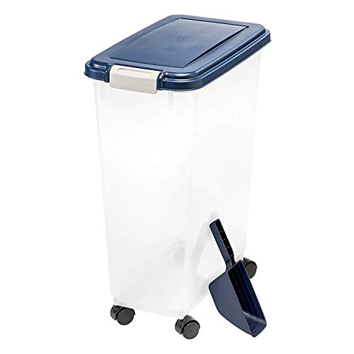 IRIS USA Airtight Pet Food Container and Food Scoop Combo, Navy