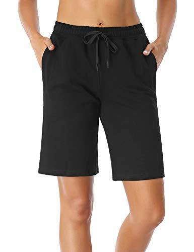 Sevego Damen 25cm Innennaht Baumwolle Lounge Bermuda Damen Baumwolle Shorts Kurze Hose Damen mit Reißverschlusstaschen Schwarz XXL