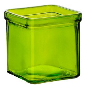 Bluecorn Beeswax 50% Recycled Glass Square Candle Holder (2.75-Inch x 3.25-Inch Tall) (1, Lime)