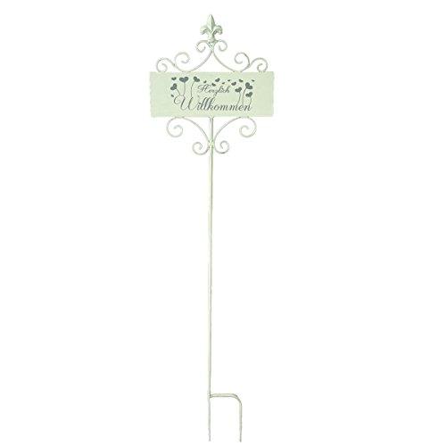 Unbekannt VARILANDO® Gartenschild mit 3 verschiedenen Schriftzügen Metalldekoration Gartendekoration Deko-Schild (Gartenschild Willkommen)