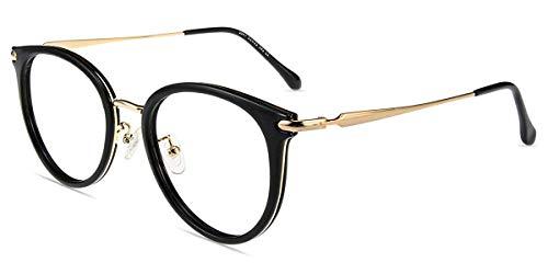 Firmoo Anti Blaulicht Brille Entspiegelt Schwarz, Vintage Runde Computer Brille mit Blaulichtfilter Anti Augenmüdigkeit, Große Blaufilter UV Schutzbrille für Bildschirme für Damen Herren
