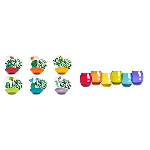 Excelsa Color Cactus Servizio Piatti 18 Pezzi, Porcellana e Ceramica, Multicolore & San Josè Set 6 Bicchieri Acqua, Vetro, Multicolore