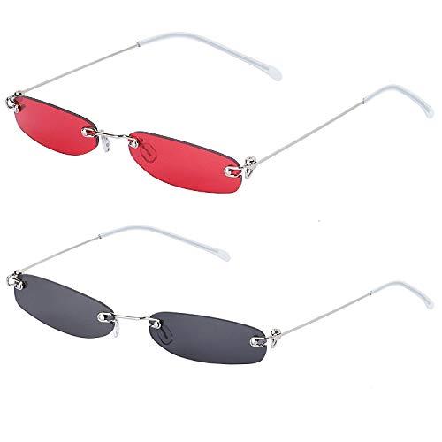 Haichen 2 pares de gafas de sol rectangulares vintage para...