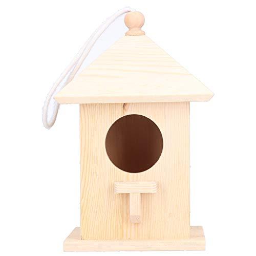 Pajareras de madera para exteriores, espacio para colgar, comestible, a prueba de...