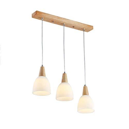 ZHHk Luz de Techo zhhhk Lámpara Colgante para la Cocina del Restaurante, E27 Lámpara Colgante con Pantalla de Vidrio y decoración de Madera, luminaria Moderna nórdica-3-luces