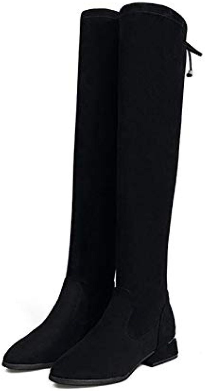 Shukun Shukun Shukun Stiefeletten Stiefel Frauen Knie Flache Unterseite Hohe Stiefel Elastische Stiefel Herbst Und Winter Verdickung Damenschuhe  e7a250