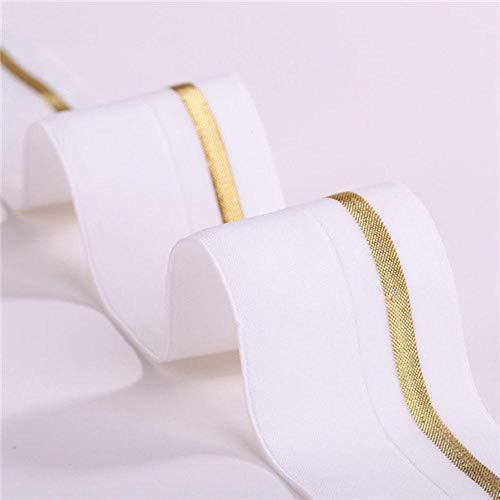 4cm vouw elastische band goud en zilver spandex elastisch dubbel strak ondergoed gaas randen riemen riem kleding accessoire 1 meter, wit, vouw elastische band