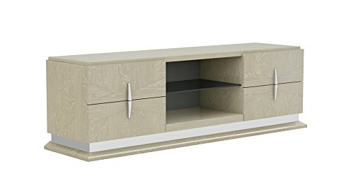 "American Eagle Furniture TV Mid Century Modern 4 Drawer 2 Shelf Living Room Television Stand, 77"", Beige"