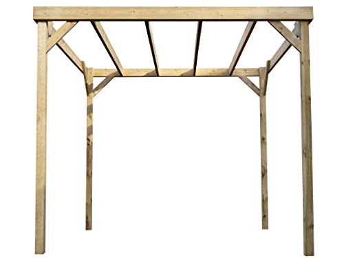 Wooden Garden Box Pergola - Canopy Shade Gazebo (2.4m x 3m, Rustic Brown)