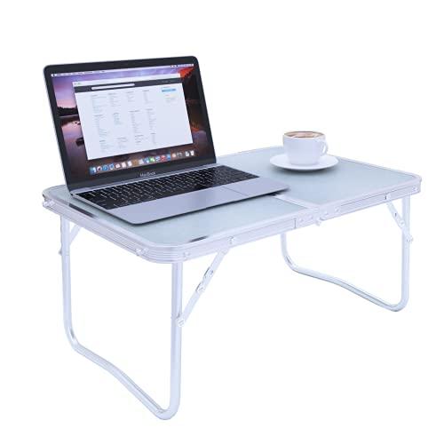 N\\A JIUYOTREE Faltbarer Laptop-Schreibtisch, Frühstückstisch für Camping, Arbeiten, Schreiben, Lesen, Licht und Tragbarer Mobiler Schreibtisch, Weiß