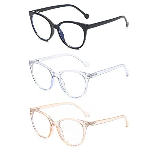 KoKoBin paquete de 3 gafas de lectura de ojo de gato gafas de ordenador con luz azul gafas de lectura para hombres y mujeres 1.0