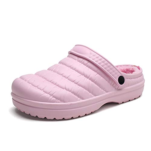 heyun Womens Mens Winter Slippers Memory Foam Fur Lined Clogs Garden Shoes Slip on Mules Clogs House Shoes Indoor Outdoor Anti-Skid Rubber Sole Pink 8 Women/6 Men