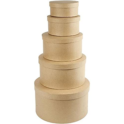 Creativ - Sombrerera de papel maché, redonda, 35,5cm, 5 unidades