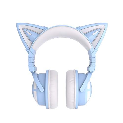Auriculares inalámbricos para niña, Auriculares con Forma de Gato con Luces LED, se Puede Cambiar el Color, reducción de Ruido Auriculares inalámbricos con Orejas de Gato en la Oreja de Anime Girl,