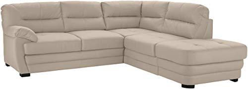 Mivano Ecksofa Royale / Zeitloses L-Form-Sofa mit Schlaffunktion, kleinem Bettkasten, Ottomane und hohen Rückenlehnen / 246 x 90 x 230 / Lederoptik, hellbraun