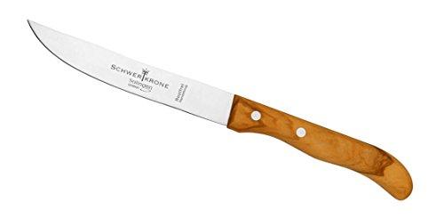 Schwertkrone Steakmesser Brotzeitmesser Frühstücksmesser Schinkenmesser Solingen Germany Olivenholz (Glatte Schneide)