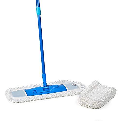 SPONTEX - Extra Flat Mop - Balai plat nettoyant et dépoussiérant - Tête XL et manche télescopique - 1 Balai + 1 Recharge