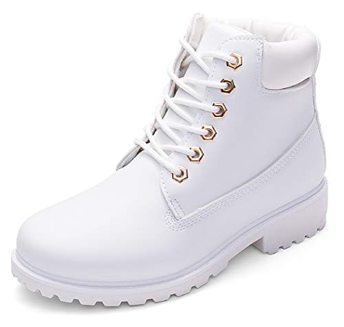 DADAWEN Women's Lace Up Low Heel Work Combat Boots Waterproof Ankle Bootie White US Size 10