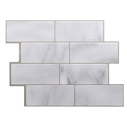 Fawyhr Pegatinas de azulejos de mosaico de mármol gris blanco, palillo de ladrillo palo autoadhesivo respaldo de la cocina DIY CACINA DE CUCHILLA DE CUERTAMENTO CASA ETIQUETA DE MUERTE DE LA PARED VIN