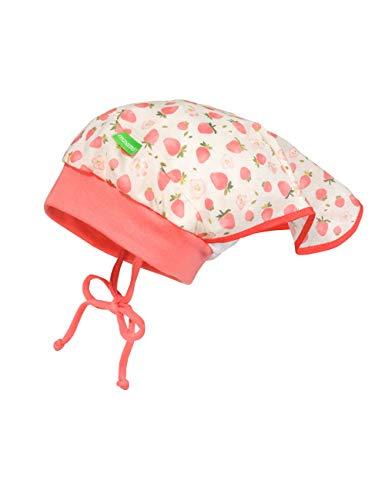 maximo Mädchen Kopftuchmütze Hut, wollweiß-hellrot-erdbeeren, 49
