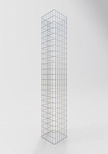 GABIONA Säule Steinkorb-Gabione eckig, Maschenweite 5 x 10 cm, Höhe 230 cm, Spiralverschluss, galvanisch verzinkt (37 x 37 cm)