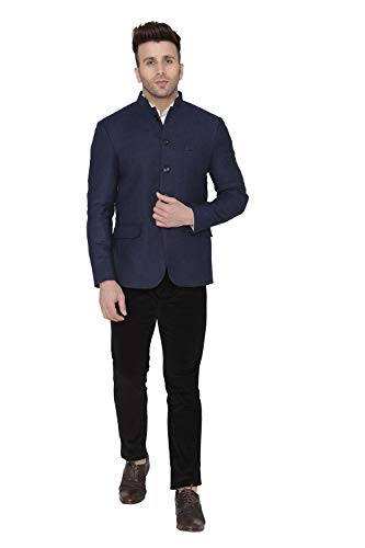 Mens Tweed Casual and Festive Navy Blue Blazer Jacket