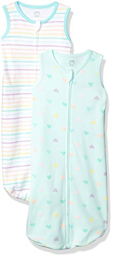 Amazon Essentials 2-Pack Cotton Baby Sleep Sack infant-and-toddler-sleepers, Multicolor (Rainbow Heart), ((Talla del fabricante: 0-6M)
