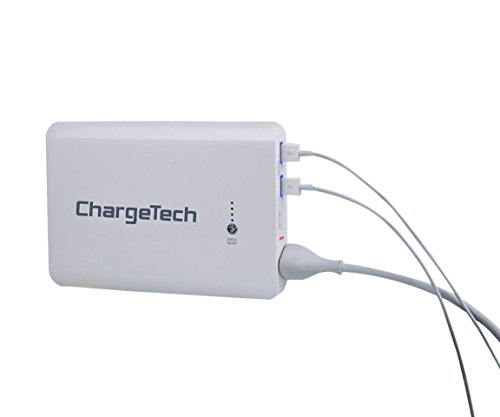 ChargeTech - 24,000mAh WHITE Portable Battery Pack w/ AC Outlet & USB Ports - Universal Power Bank for MacBooks, Laptops, iPhone, iPad, Samsung Galaxy, Note Tab, Nexus, HTC, Motorola, GoPro, Camping