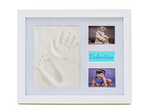 Marco huella bebe pie y mano bebe fotos Ezkull con espacio compartimiento donde guardar recuerdos regalo presente para el bebe recién nacido bautizo fiesta baby shower cumpleaños regalos originales.