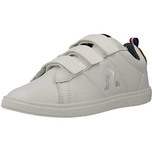 LE COQ SPORTIF Courtclassic PS Optical White/Brown, Zapatillas Unisex niños, Óptico Blanco/Marrón,...