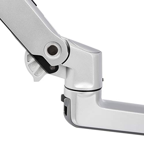 Amazon Basics Hochwertige Monitorhalterung mit zwei Armen, Hub-Armhalterung, Aluminium, Silberfarben