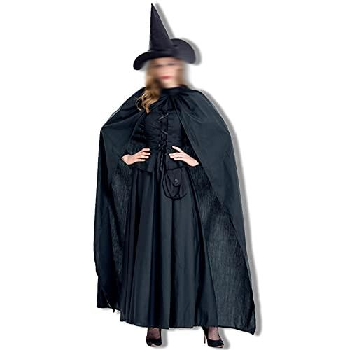 Disfraz de Vestir de Halloween Halloween Nuevo Cloak Cloak Witch Etapa Trajes exportados a Europa y los Estados Unidos Pure Black Witch Game Disfraces,Negro,M