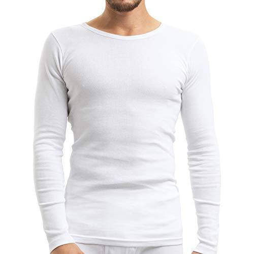 Celodoro Herren Feinripp Unterwäsche Shirt (Hemd), Langarm aus Baumwolle - Weiss XL