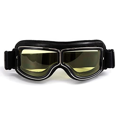Gafas de moto retro Gafas de cuero de motocross para mujeres y hombres Gafas de sol - marco negro, lente amarilla