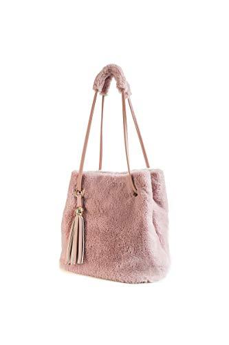 Ulisty Damen Herbst Winter Kunstpelz Schultertasche Plüsch Handtasche Flauschige Beuteltasche Quaste Umhängetasche Rosa