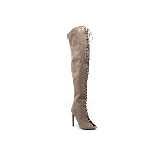 Qupid Women's Interest-87 Slouch Boot,Taupe Suede Pu,6.5