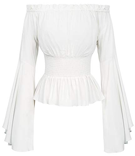 Damen Bluse Mittelalter Shirt Elfenbein top Oberteil Black Blouse L BP468-3